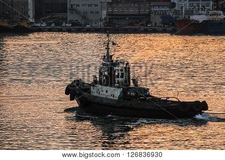 tugboat sails on the sea at sunset