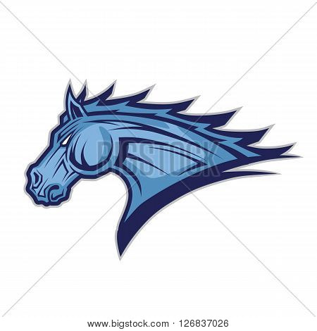 Clipart picture of a horse or mustang head cartoon mascot character
