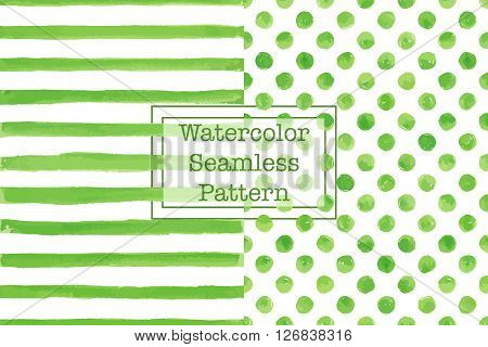 Set of two watercolor seamless patterns green color. Stripes and polka dot pattern. Watercolor seamless pattern for any your design project eco natural organic them. Or for print on any item.