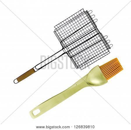 Grilling Basket with baste brush on a white background