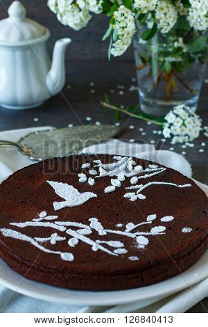 Homemade rustic chocolate brownies on a table