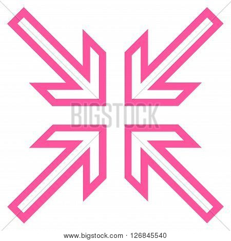 Implode Arrows vector icon. Style is contour icon symbol, pink color, white background.