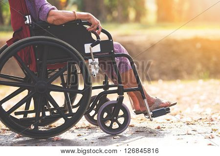 Old people on wheel chair, senior and old people life
