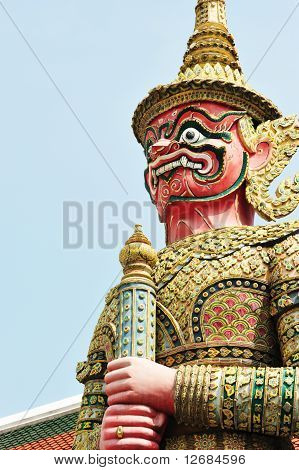 A Guardian Demon Stands Guard At The Entrance That Access To The Grand Palace