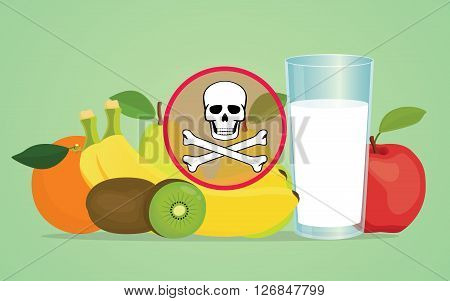 poison poisonous fruit with skull symbol vector illustration