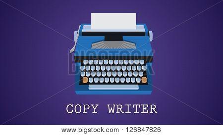 copywriting copywriter illustration with type machine vector  illustration