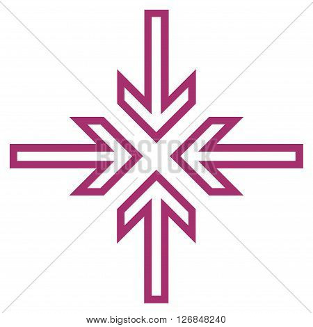 Implode Arrows vector icon. Style is contour icon symbol, purple color, white background.