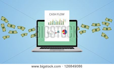 cash flow illustration with laptop money and graph chart vector illustration