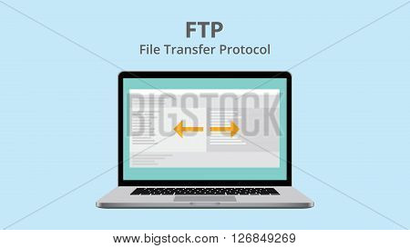 ftp file transfer protocol with data exchange on laptop vector illustration