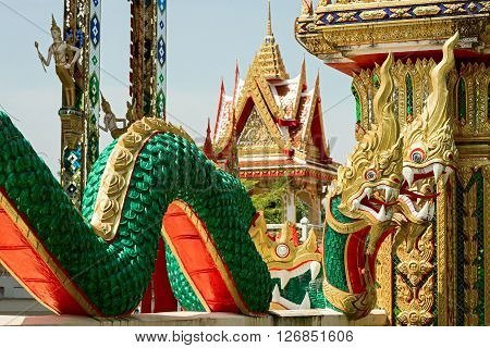 Figures of three headed dragon at Wat Chalong temple Phuket Thailand