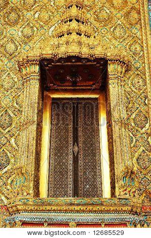 Elaborate doorway in Wat Phra Keaw temple in Bangkok, Thailand