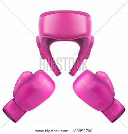 Boxing helmet and gloves. Self-defense. Sport goods, defense and equipment. 3D Illustration isolated on white background.