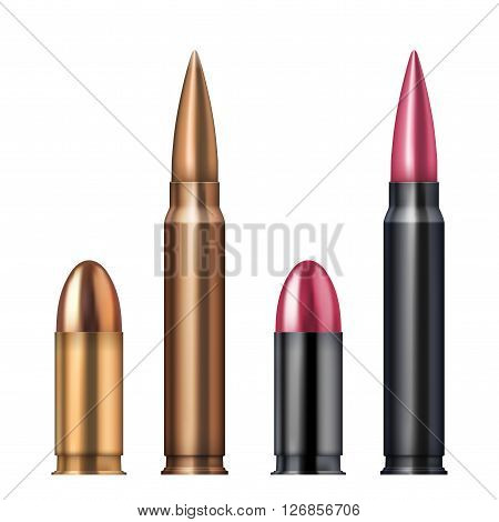 Rifle and revolver Bullets .  Illustration Isolated on white background.