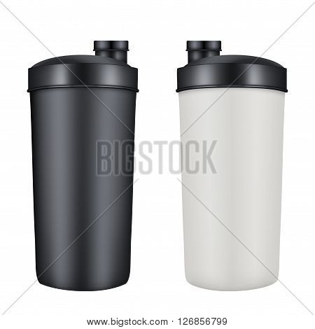 Mockup Plastic Sport Nutrition Drink Bottle. Whey Protein and Gainer. 3D Illustration isolated on white background