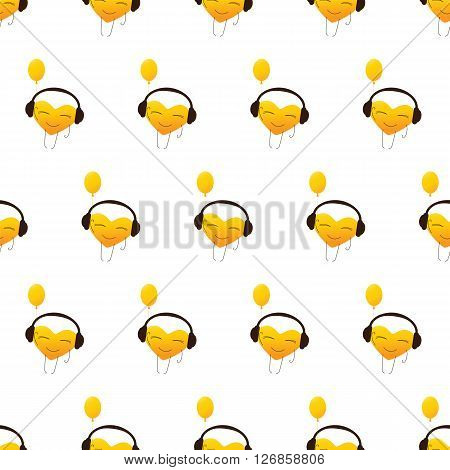 Seamless pattern with repeating golden colored cartoon heart character in headphones with balloon in one hand isolated on white background