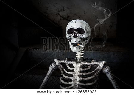 Still Life Smoking Human Skeleton With Cigarette, People Smoke Cigarette Look Like Trying To Commit