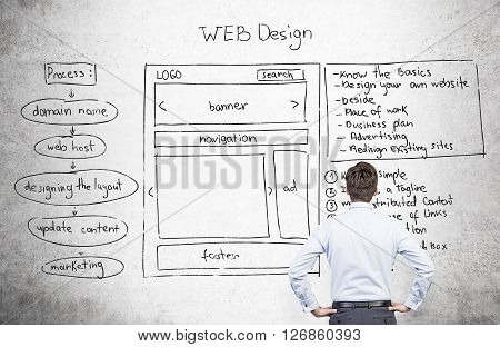 Businessman looking at web design plan on concrete wall