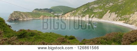 Lulworth Cove Dorset England UK panoramic view of this popular tourist attraction