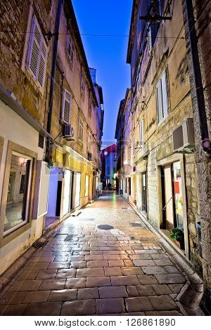 Old stone street of Zadar evening view Dalmatia Croatia