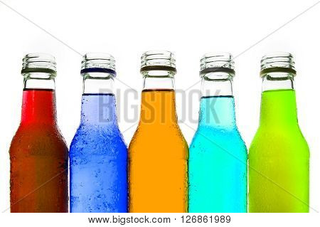 close up the cool colorful drink on white background