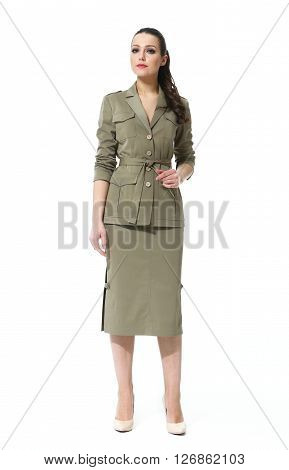 eastern woman with straight pony tail hair style in official jacket skirt suit high heel shoes going full body length isolated on white