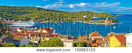 Harbor of Vis island panorama Dalmatia Croatia