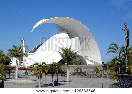 SANTA CRUZ, TENERIFE - APRIL 17, 2016: Auditorio de Tenerife in Tenerife, Spain. It was designed by architect Santiago Calatrava Valls, Santa Cruz Port, Tenerife