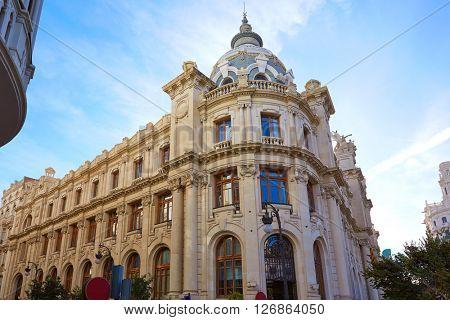 Valencia city Correos building in Ayuntamiento square of Spain
