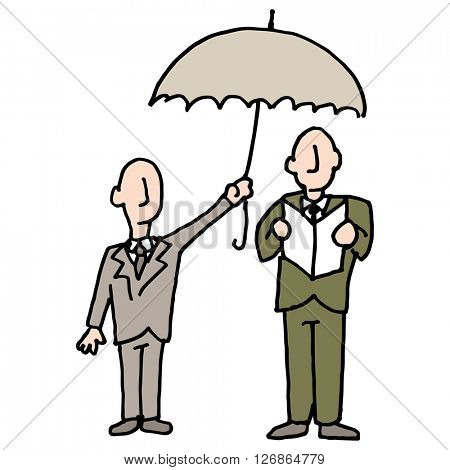 An image of a man sharing his umbrella with another man.