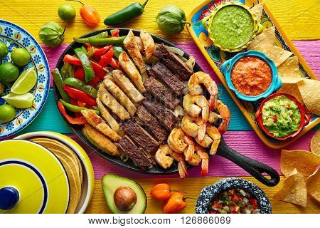 Mexican combo beef and chicken fajitas with shrimp