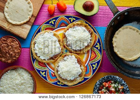 Sopes handmade mexican traditional food thick corn masa tortillas