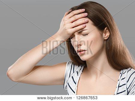 Headaches Beautiful Young Woman With Headache Touching Her Head