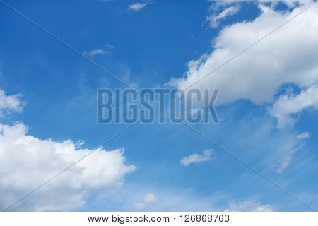 Beautiful cloudscape with various cloud types on the background of blue sky