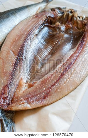 Manx Kippers or skeddan jiarg naturally smoked herrings produced in the Isle of Man