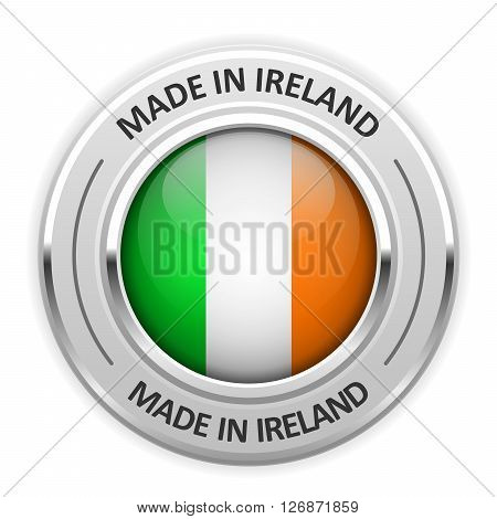 Silver medal Made in Ireland with flag