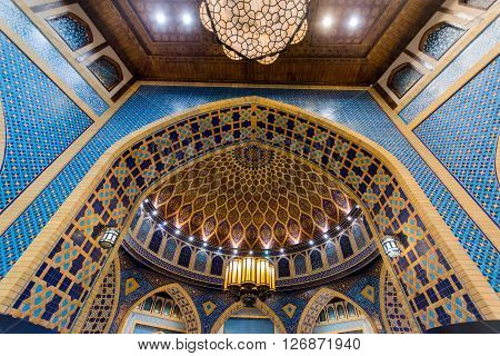 DUBAI UAE-FEBRUARY 01: Interior of Ibn Battuta Mall store on February 01 2016. Each salesroom is decorated in the style of different country.