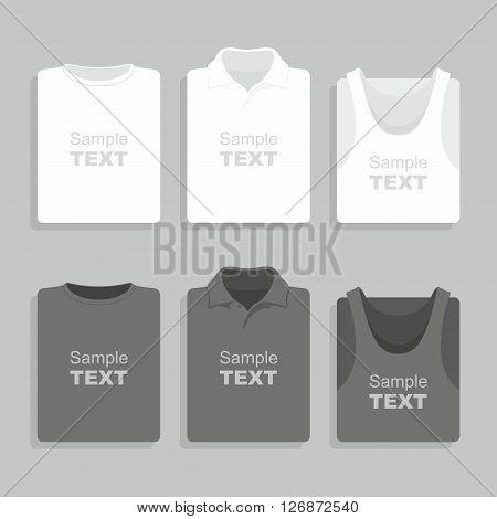 Folded black and white t-shirts set. Vector illustration