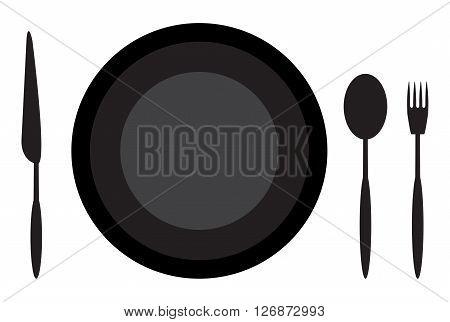 Dining etiquette plate spoon knife and fork. Restaurant dining table set utensil for dinner. Vector flat design illustration