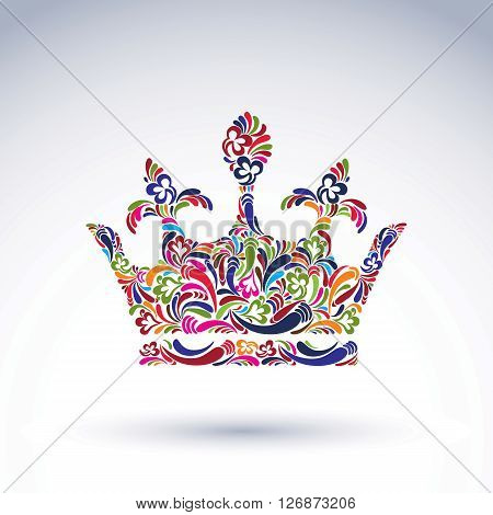 Colorful flower-patterned crown coronation vector design element. Classic royal accessory decorated with abstract flower pattern.