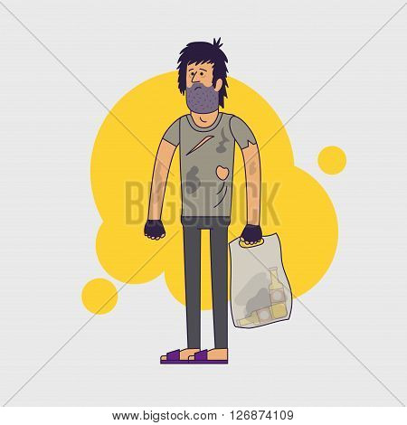 Dirty homeless. Shaggy man wearing dirty rags and with a plastic bag with empty bottles. illustration. Linear flat style