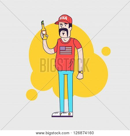 Cartoon character. Truck driver with mustache in cap. Illustration of the american redneck with big belly is holding a beer bottle. Resident of the southern states. Linear flat style