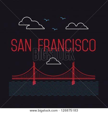 San Francisco Golden Gate Bridge. San Francisco landmark illustration. Line flat style. San Francisco view