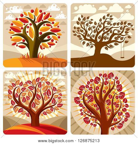 Art illustration of orange trees growing on beautiful meadow stylized eco autumn landscape with clouds. Vector botany element on harvest season idea spring time idyllic picture.
