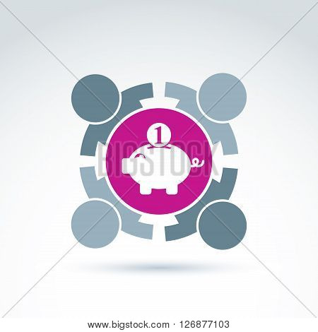 Business idea discussion concept economics and investment theme. Management team collaboration conceptual symbol. Pink piggybank sign personal savings icon.