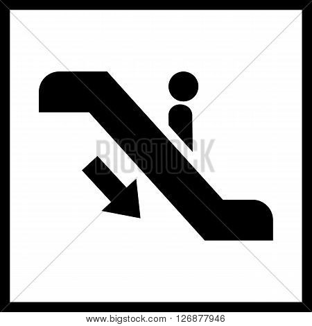 Escalator staircase icon.Vector Escalator staircase icon.Escalator staircase moving down icon isolated.Elevator moving stairs down symbol, sign