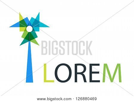 Abstract multicolored turbine tower, windmill, pinwheel and pennant triangle symbol. Geometric Vector logo design.