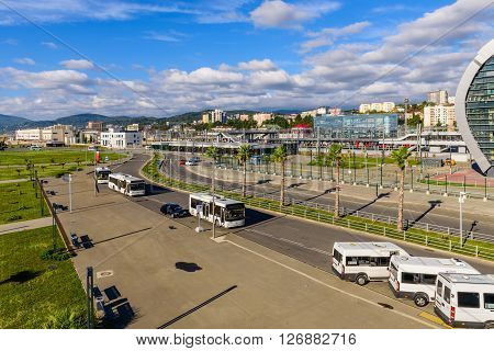 SOCHI, RUSSIA - OCTOBER 8 2015: station square in Adler in October 8, 2015, Sochi, Russia.