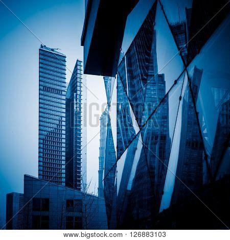 modern architecure,shanghai china,blue toned image.