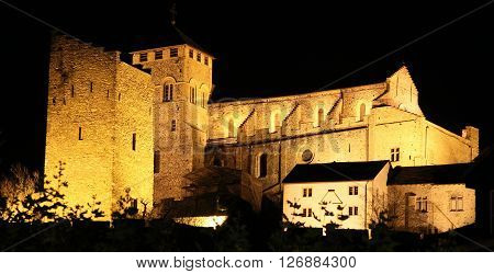 lluminated medieval Valere basilica, in Sion, Switzerland