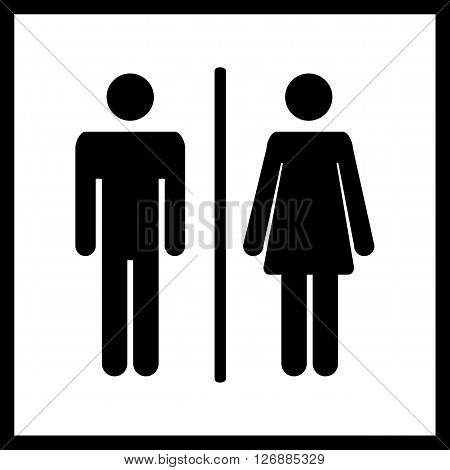 Restroom icon.Toilet icon.Male and female WC icon denoting toilet and restroom facilities for both men and women with black male and female silhouetted figures in flat style